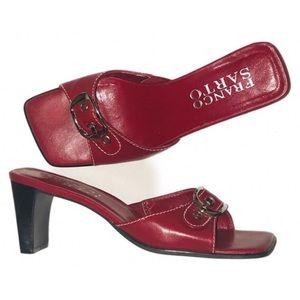 Trendy Franco Sarto red slide sandals